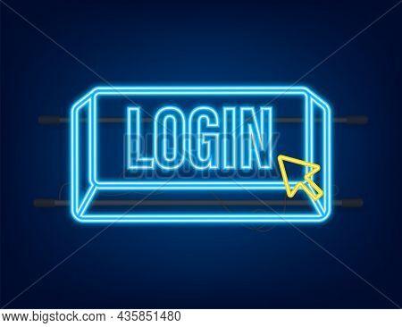 Login. Neon Icon. Web Banner. Arrow, Cursor Icon. Arrow Vector Icon. Hand Click Vector Stock Illustr