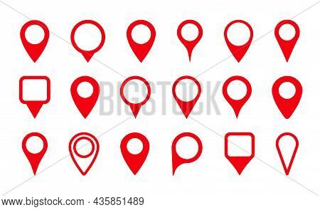 Pin Icon For Map Location. Pointer, Marker For Gps, Geo Position And Place. Tag Or Symbol Of Destina