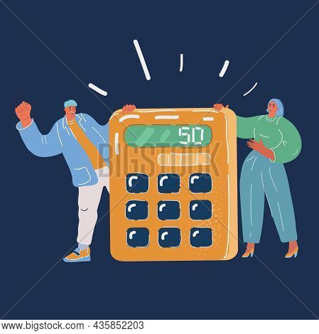 Vector Illustration Of Calculation Concept. People With Calculator. Businessman, Accountant. Team Te