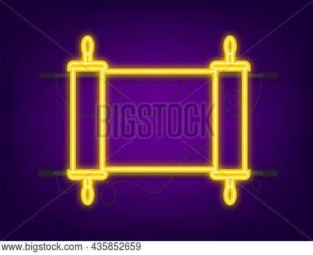 Rolled Old Papyrus File Mockup. Realistic Illustration Of Rolled Old Papyrus File. Neon Style. Vecto