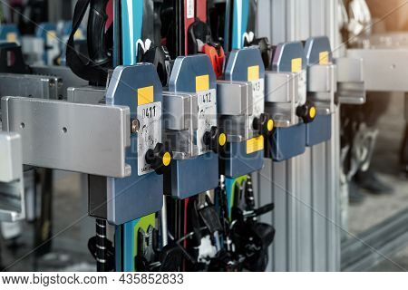 Many Ski Snowboard Storage Locker Coin Cells At Peak Entrance Of Station Of Cabin Gondola Ski Lift A