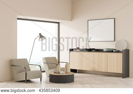 Corner View On Bright Living Room Interior With Empty White Poster, Panoramic Window With Countrysid