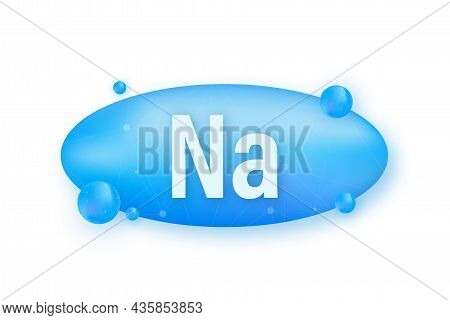 Na, Natrium Blue Shining Pill Capsule Icon. Vector Stock Illustration