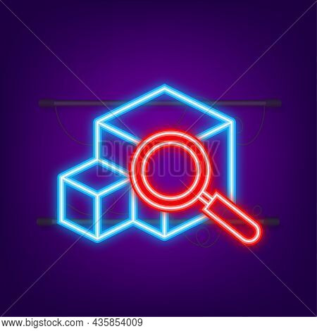 Parcel Tracking Website. Neon Icon. Online Package Tracking. Modern Concept. Vector Stock Illustrati