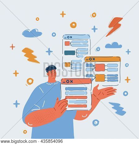 Vector Illustration Of Man Working At His Project In His Thought. Prototyping The Project