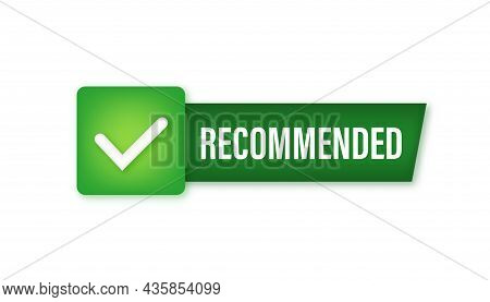 Recommend Icon. White Label Recommended On Green Background. Vector Illustration