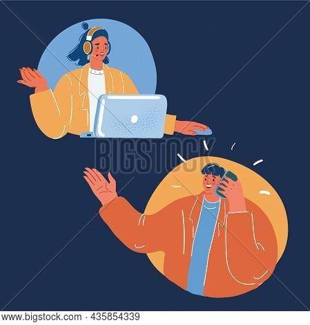 Vector Illustration Of Operator In Headset Speak With Phone With Operator Over Dark Backround.