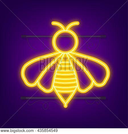 Honey Flying Bee. Bee Icon. Neon Style. Vector Illustration