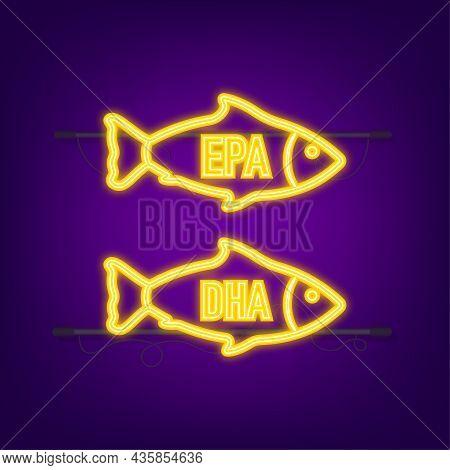 Epa, Dha Vector Drops Set. Neon Icon. Omega Three. Organic Vitamin. Vector Illustration.