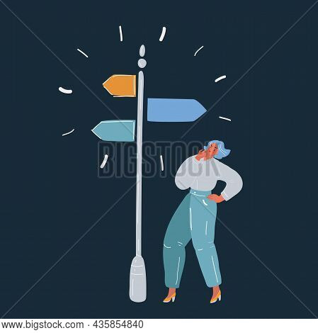 Vector Illustration Of Where To Go Woman Chooses Where To Go On Dark Backround.