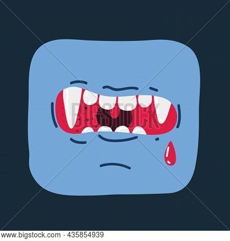 Vector Illustration Of Vampires Mouth On Dark Backround.