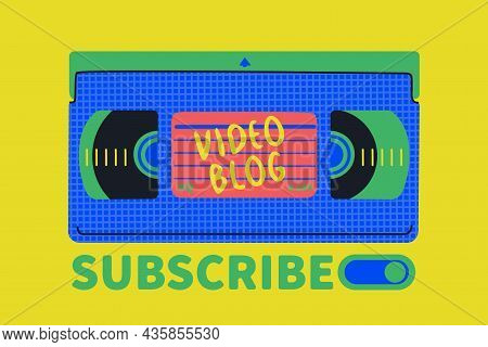 Videocassette. Cover For A Video Blog. Hand Drawing Vector Retro Illustration