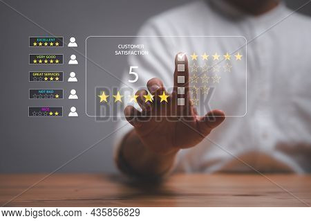 Customer Service Experience. Casual Businessman Choosing Screen On Five Star Icon To Give Satisfacti