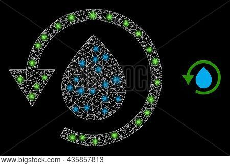 Bright Mesh Vector Water Dew Recovery With Glare Effect. White Mesh, Glare Spots On A Black Backgrou