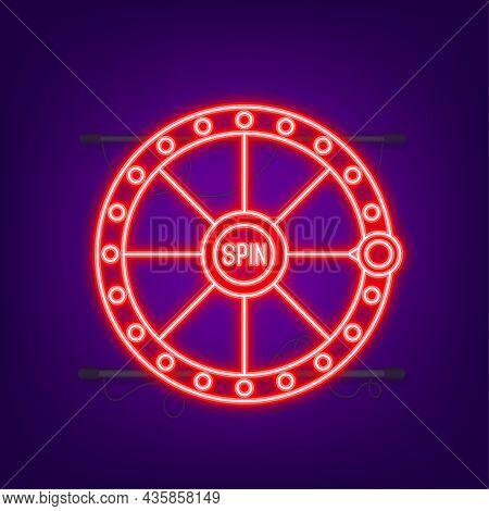 Winner Banner. Slot Machine With Lucky Sevens Jackpot. Neon Style. Vector Illustration