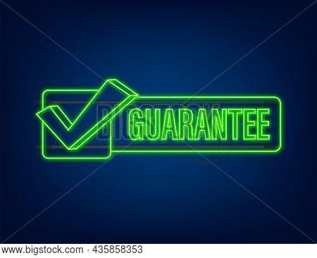 Guarantee Neon Vector Isolated On Dark Background. Vector Stock Illustration