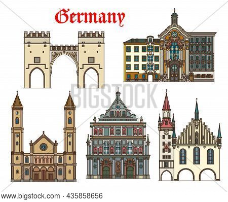 Germany Architecture, Munich Buildings And Travel Landmarks, Vector. German Churches Of St Ludwig An