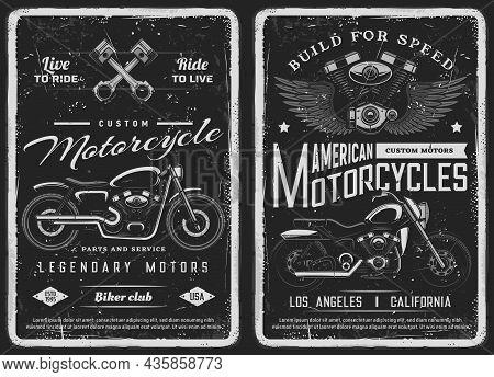 Bike And Custom Motorcycle Vintage Posters. American Motorcycles Mechanic Service, Repair Station Or