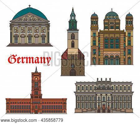 Germany, Berlin Architecture Buildings And Travel Landmarks, Vector. German Historic St Mary Church,