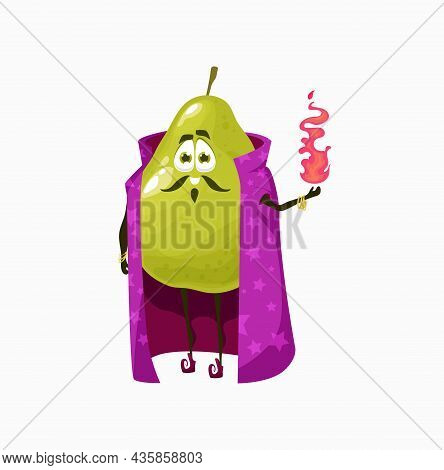 Apple Guava Pear Fruit Wizard With Magic Glass Fire In Hands, Isolated Cartoon Character Ikn Cape. V