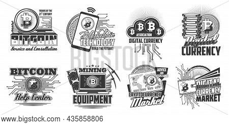 Bitcoin Cryptocurrency Blockchain Technology Icons. Laptop Computer, Cellphone And Graphics Card, Bi