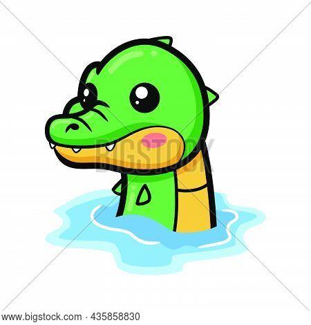 Vector Illustration Of Cute Little Crocodile Cartoon In Water