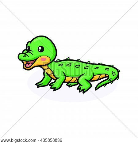 Vector Illustration Of Cute Little Crocodile Cartoon Posing