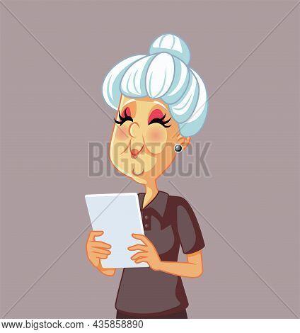 Elderly Woman Using A Pc Tablet Vector Cartoon