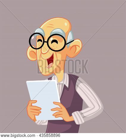 Elderly Man Using A Pc Tablet Vector Cartoon