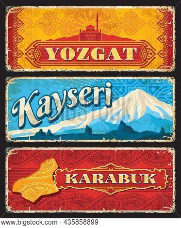 Yozgat, Kayseri And Karabuk Il Or Provinces Of Turkey Vintage Plates. Vector Map, Capanoglu Camii Mo
