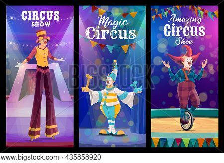 Shapito Circus Cartoon Clowns And Acrobat Characters. Circus Show Clown On Stilts, Funny Mime With B