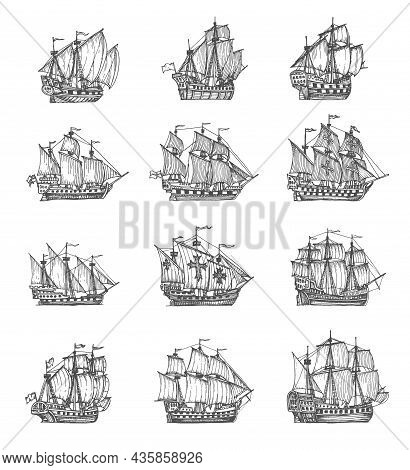 Vintage Pirate Sail Ships And Sailboats. Medieval Caravel, Frigate Vessel Sketches. Ancient Geograph