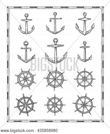 Anchors And Helm Sketches. Vintage, Antique Map Elements. Marine Sailing, Nautical Adventure And Nav