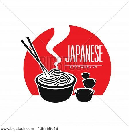 Japanese Cuisine Restaurant Icon With Noodles And Sauce, Vector Symbol. Japan And Asian Food Bar Or