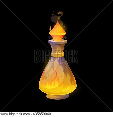 Glass Potion Bottle With Fire, Orange Flames Raging In Flask. Vector Magic Elixir, Spell With Blaze
