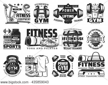 Fitness, Gym And Bodybuilding Sport Club Vector Icons With Training Barbells. Yoga And Pilates Healt