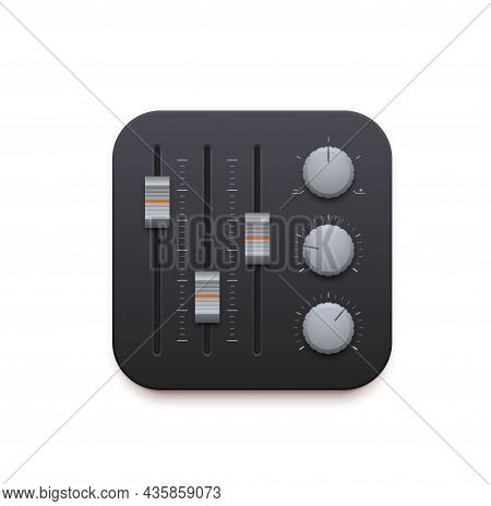 Sound Mixer, Music And Sound Record App 3d Icon. Vector Audio Mixing Console Or Music Studio Board P