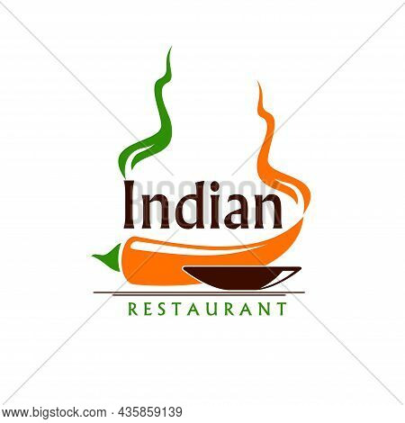 Indian Restaurant Icon With Vector Bowl Of Food And Hot Red Chilli Pepper. Isolated Emblem Of Indian