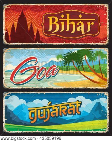 Goa, Gujarat And Bihar, India States Tin Sings Or Indian Regions Vector Metal Plates. Indian States