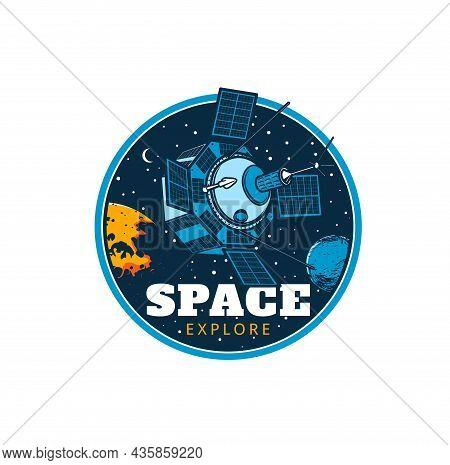 Space Explorer Vector Icon, Orbital Station Satellite Or Shuttle Spacecraft, Galaxy Flight. Telecomm