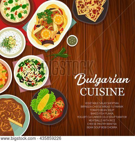 Bulgarian Cuisine Meals, Restaurant Dishes Menu Cover. Yogurt Cucumber Tarator And Bean Bob Chobra S