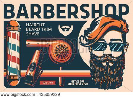 Barbershop Retro Poster Of Vector Haircut, Beard Shave And Trim Salon. Vintage Barber Shop Pole, Hai