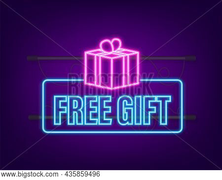Business Template With Red Free Gift For Banner Design. Neon Icon. Vector Business Template. Present
