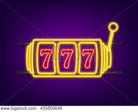 Retro Banner For Game Background Design. Winner Banner. Slot Machine With Lucky Sevens Jackpot. Neon