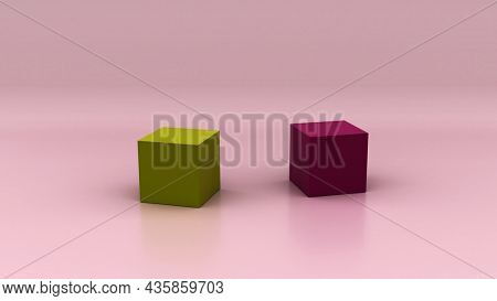 Spring colored background. Two cubes in maccha green and plum rose pink in front of pink background.  3d illustration, 3d rendering,
