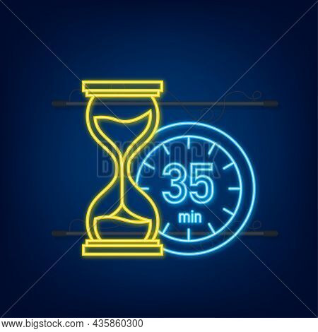 The 35 Minutes, Stopwatch Vector Neon Icon. Stopwatch Icon In Flat Style, Timer On On Color Backgrou