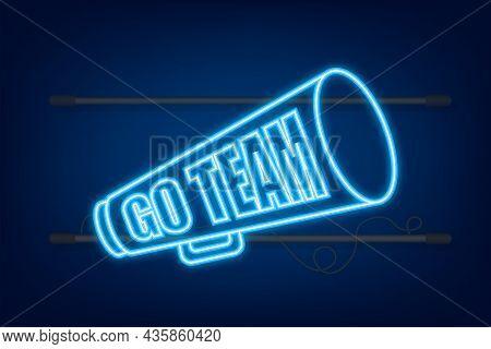 Go Team Triangle Banner. Go Team In Cartoon Style. Neon Icon. Vector Stock Illustration