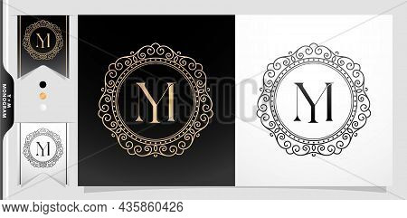 Illustration Of A Labels And Badges, Set Of Label Initial Ym Or My Letter, Circle Gold Frame Border