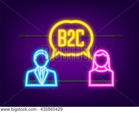 B2c Sales Person Selling Products. Neon Icon. Business-to-business Sales, B2c Sales Method. Vector I