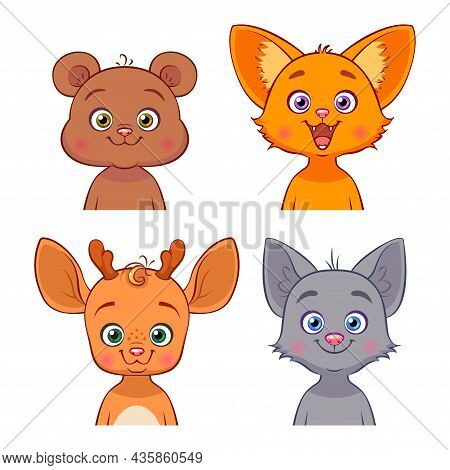 Vector Set With Forest Animals In Cartoon Style. Hand Drawn Baby Characters. Bear, Fox, Deer, Wolf.